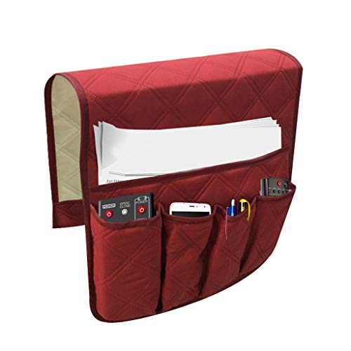 AHAYAKU Sofa Couch Remote Control Holder Arm Rest Organizer Storage Bag Pouch Pocket RD Red