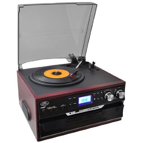 Pyle PTTCDS7U Classic Vintage Turntable with AM/FM Radio/Cassette/CD, USB/SD and Aux Input for iPod and MP3 Players (Mahogany)
