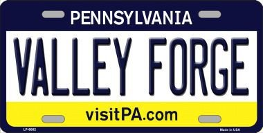 Valley Forge Pennsylvania State Background Novelty Metal License Plate LP-6052