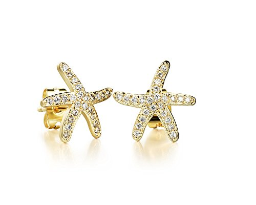 Swarovski Starfishes Stud Earrings 18 ct Gold Plated for Women and Girls ()
