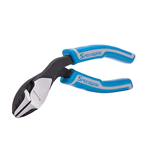 SPEEDWOX Diagonal Cutting Pliers Angled Multi Plier Compound Action High Leverage Ergonomic Combination Pliers Pistol Grip Heavy Duty Wire Cutters Professional Tool Reduce Effort by 35% 7-Inch