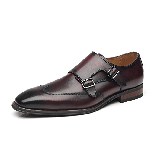 La Milano Men's Double Monk Strap Slip on Loafer Leather Oxford Wingtip Formal Business Casual Comfortable Dress Shoes for Men -