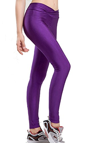 Lycra Womens Leggings (Romastory Women Fluorescent Colors Tights Stretched Sports Leggings Yoga Pants (L, Purple))