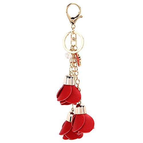 Tassel Charm Flower (Funbase PU Rose Flower Tassel Keychain Keyring Charm Handbag Purse Pendant)