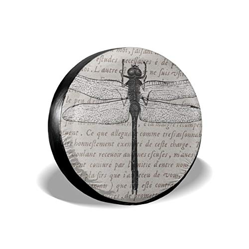 Bizwheo Vintage Dragonfly Antique Text Collage Print Spare Tire Cover Protector Polyester Universal Spare Wheel Tire Covers