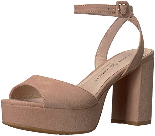 Chinese Laundry Leather Heels - Chinese Laundry Women's Theresa Heeled Sandal, Dark Nude Suede, 7.5 M US