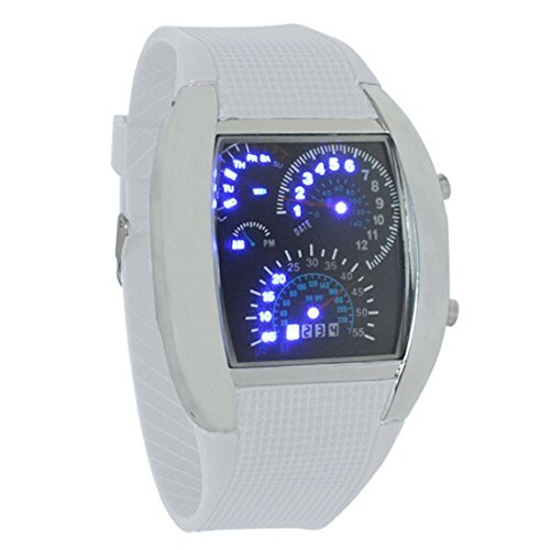 Amazon.com: PromiseU LED Light Aviation Pilot Speedometer Dash Mens Binary Digital Wrist Watch: Kitchen & Dining