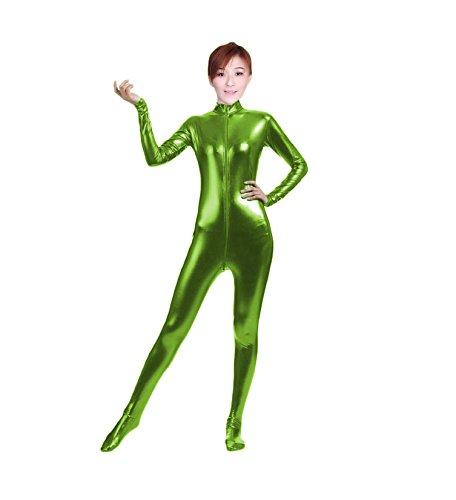 Girl Acrobat Costume (WOLF UNITARD Shiny Metallic Unitard Bodysuit Catsuit Small Grass Green)