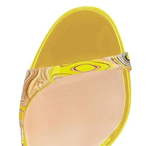 Sandali Tacco Scarpe col Scarpe elashe Multicolore a Donna Nero Peep Spillo Toe Tacco da 12CM Classiche 0wqYw1T