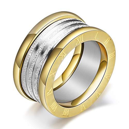 Designer Inspired Gold Roman Numeral Stardust Titanium Steel Stackable Statement Ring (7)