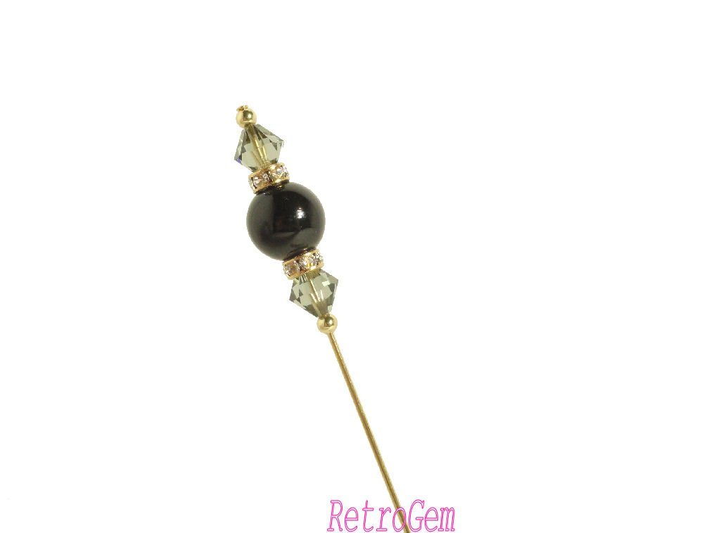 RetroGem Crystal Pearl Gold Tone Hat Pin Made with Swarovski Elements Crystal Pearl #434 (Pearl:Magical Black)