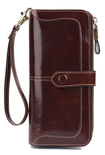 Anvesino Women's RFID Blocking Real Leather Wallet Ladies Zipper Wristlet Clutch Coffee