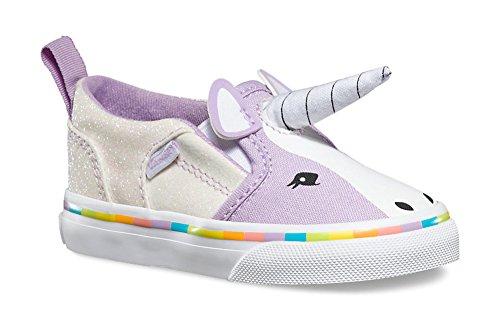 Vans Girls Asher V Purple Unicorn Shoes Sneakers (7 Toddler) -