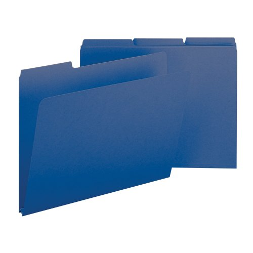 "Smead Pressboard File Folder, 1/3-Cut Tab, 1"" Expansion, Letter Size, Dark Blue, 25 per Box (21541)"