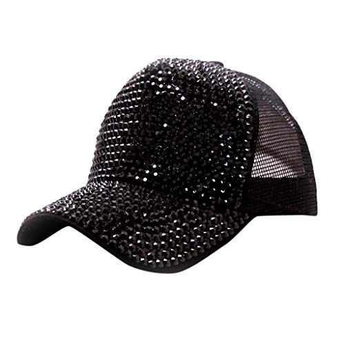 BCDshop Women Men Rhinestone Sun Hats Fashion Back Mesh Baseball Cap One Size (Black)