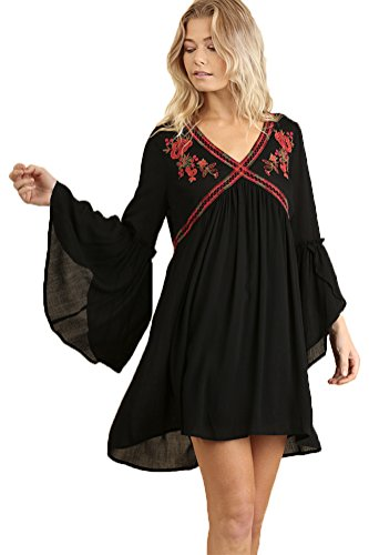 Umgee Women's Embroidered V-Neck Dress With Tulip Bell Sleeves (M, - Tulip Bell Flower