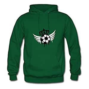 Women Sweatshirts Casual Soccer Blazon Logo Graffiti Print X-large With Organic Cotton Green