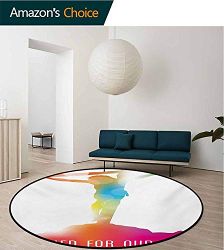 - RUGSMAT Quote Round Area Rugs Bedroom,Abstract On The Cross Scenery with Message of Inspiration Colorful Dreamy Display Lifts Basket Swivel Chair Pad Coffee Table Rug,Diameter-51 Inch