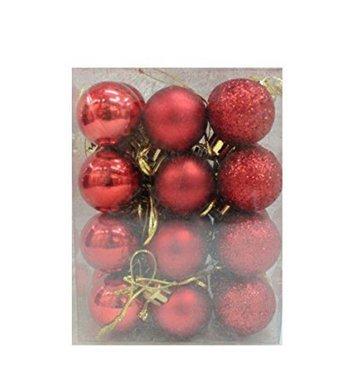 Mttheaw 24PCS albero di Natale palline 3cm per decorazione, White, 3 cm
