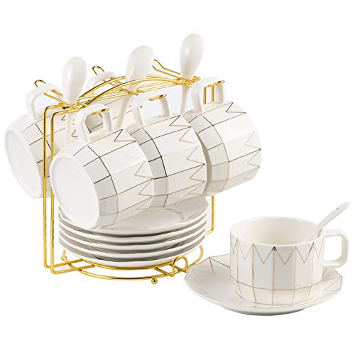 - Premium 6pcs Porcelain Coffee Cup and Saucer Set, Ceramic Tea Cups with Gold Metal Bracket and Spoons Espresso Cup for Specialty Coffee Drinks Latte Mocha Cappuccino Decorative Dinnerware Favor Gift