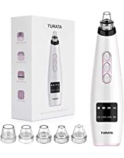Blackhead Remover Vacuum, TURATA Facial Pore Cleanser Acne Comedones Extraction 5 Replaceable Heads Electric Skin Vacuum Suction Tool Rechargeable Blackhead Removal Kit For Nose Face