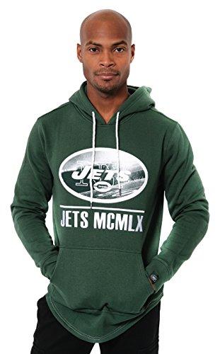 ICER Brands NFL New York Jets Men's Fleece Hoodie Pullover Sweatshirt Embroidered, Small, Green ()