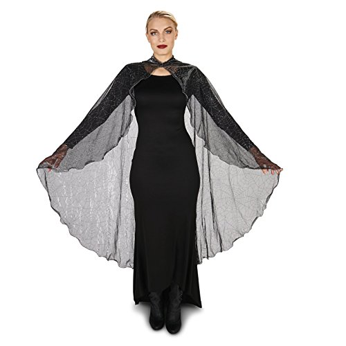 [Black Mesh Spider Web Adult Cape with Hood] (Adult Vampire Halloween Costumes)