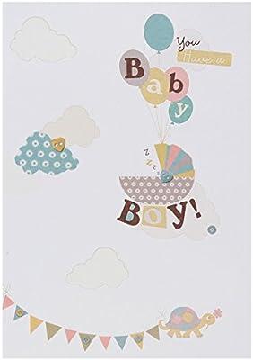 Hallmark - Tarjeta de felicitación por niño recién nacido (tamaño mediano), diseño contemporáneo brillante