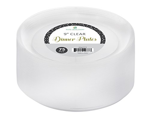 Elite selection 9 Inch Dinner Disposable Clear Hard Plastic Party Plates 75 Count