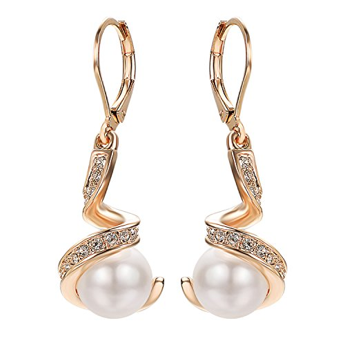 Yoursfs Simulated Pearl Dangle Earrings 18K Rose Gold Plated Swirl Spiral Bridal Jewelry