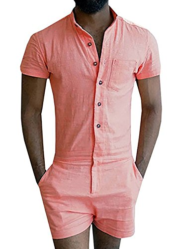 Mens Short Sleeve Jumpsuit Casual Short Cargo Pants Rompers Overall size Small (Orange)