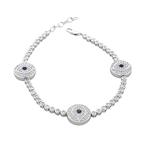 925 Sterling Silver White Blue
