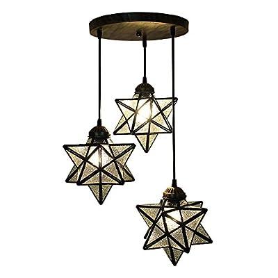 HAIXIANG 3 Lights Round Base Moravian Star Chandelier Lighting Iron Art Pendant Lamp