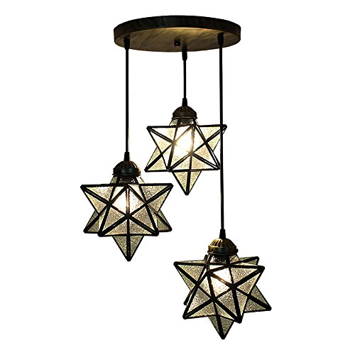 De Art Pendant Crystal (HAIXIANG 3 Lights Round Base Moravian Star Chandelier Lighting Iron Art Pendant Lamp Crystal Glass)