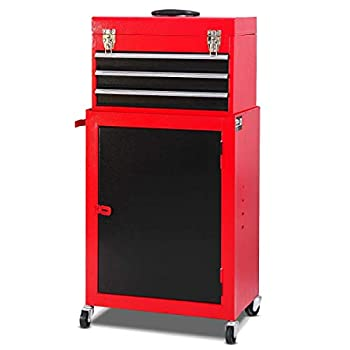 Image of Combination Padlocks COSTWAY Mini Tool Chest & Cabinet Storage, Red