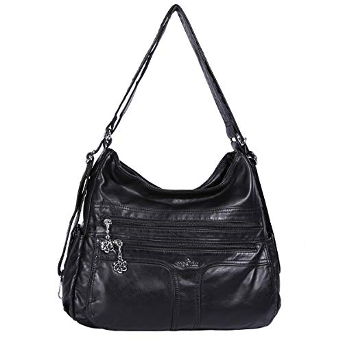 Angelkiss Women's Multifunctional Shoulder Hobo Bag Soft Leather Messenger Crossbody Purse Satchels Handbags with Zipper Black ()