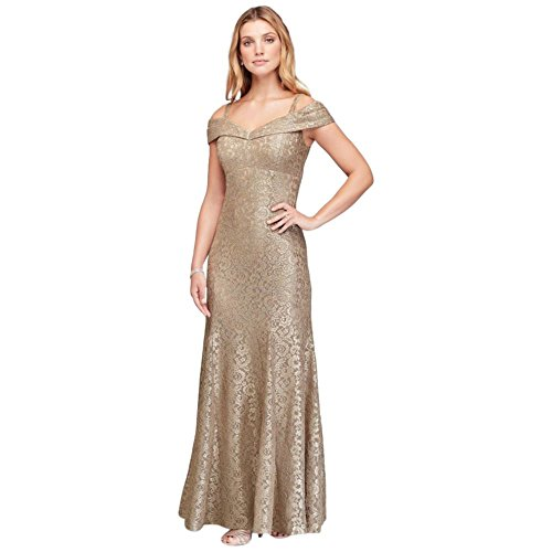 Cold-Shoulder Glitter Lace Mermaid Mother of Bride/Groom Dress Style 2047, Gold, 4