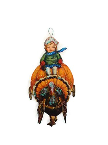 (Thanksgiving Turkey Ornament Decoration Boy riding Pumpkin Cart)