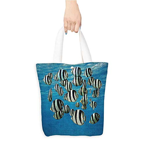 Eco-Friendly Canvas bagsBanded Butterfly fish with Thin Vertical Bars Surface of Water Nautical Easy to all-match W16.5 x H14 x D7 INCH