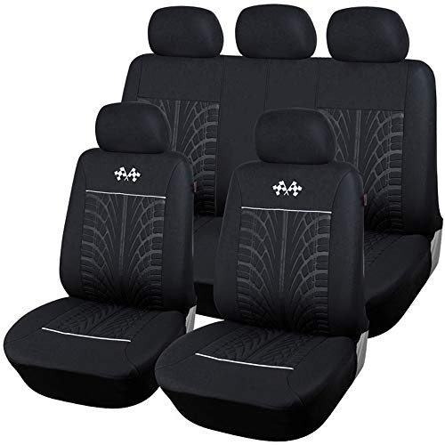 - 9 Pcs Car Seat Covers Full Set Universal Fit Most Brand Vehicle Seats Car Seat Protector Interior Accessories (Black)