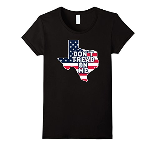 Womens Don't Tread On Me Patriotic Texas Flag Graphic T-Shirt Large Black