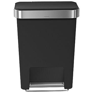 simplehuman Rectangular Step Can with Liner Pocket, 45 L/11.9 gallon (Black Plastic)