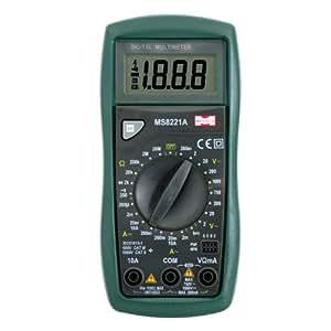 MASTECH MS8221A Multímetro Digital Corriente Voltaje Resistencia Transistor Tester Detector con Diode 2000 Cuentas
