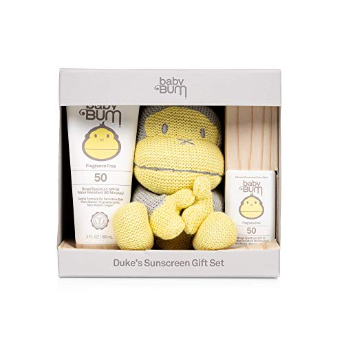 Sun Bum Baby Bum Duke's Sunscreen Gift Set | Travel Sized SPF 50 Mineral Sun Protection Lotion and Face Stick for Sensitive Skin with Duke Knit Toy | Fragrance Free | Gluten Free and Vegan, Yellow