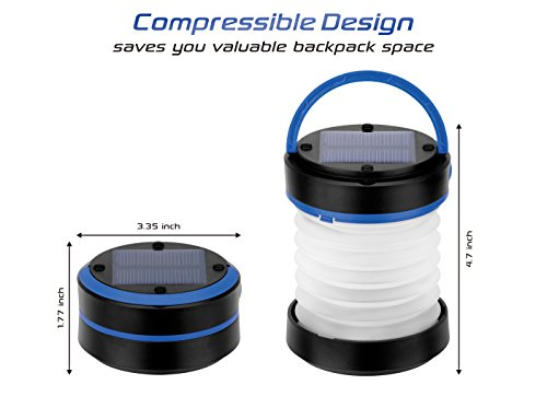 Kizen Solar Powered LED Camping Lantern Solar or USB Chargeable, Collapsible Space Saving Design, Emergency Power Bank, Flashlight, Water Resistant. For Outdoor Night Hiking Camping Tent Lawn Patio!