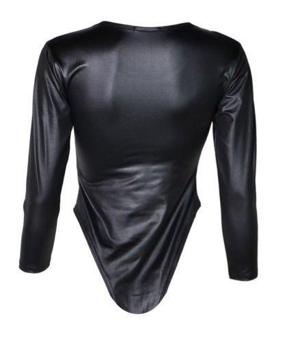 Fast Fashion Body para Mujer, Manga Larga, con brillo, efecto mojado, malla de Gimnasia negro
