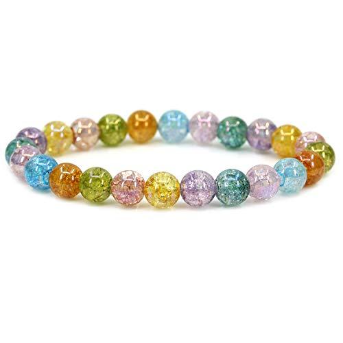 (Natural Aqua Aura Multicolor Crackle Quartz Gemstone 8mm Round Beads Stretch Bracelet 7