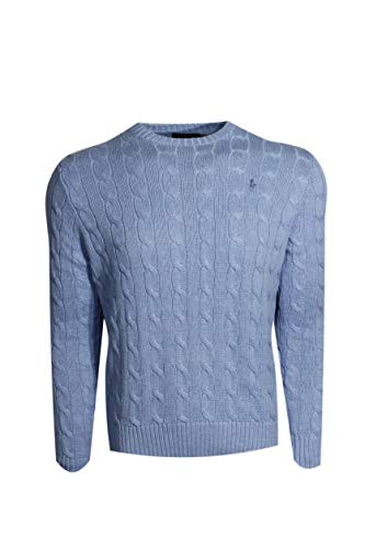 (Polo Ralph Lauren Mens Cable-Knit Crew Neck Sweater (Small, Blue Heather (Blue)