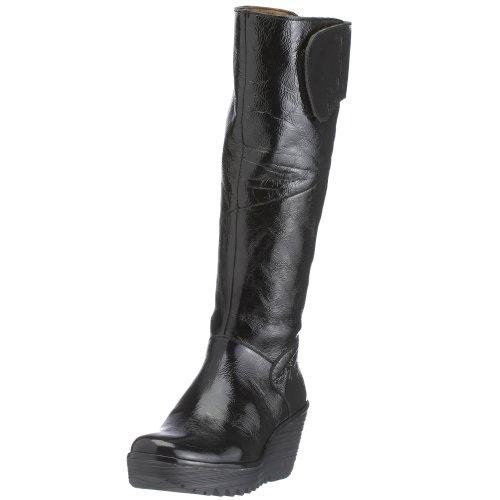 Yule Patent Patent Botas Cuña black Fly London Mujer Negro Para F4AxWqwS