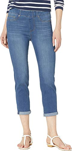 - Liverpool Women's Chloe Pull-On Crop Rolled Cuff in Lanier Mid Blue Lanier Mid Blue 4 23